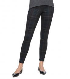 Calvin Klein Navy Blue Plaid Stretch Ankle Pants