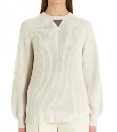 Brunello Cucinelli Beige Monile Knit Sweater