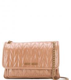 Beige Matelasse Large Shoulder Bag