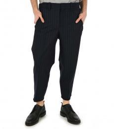 Navy Blue Pinces Pinstripe Pants