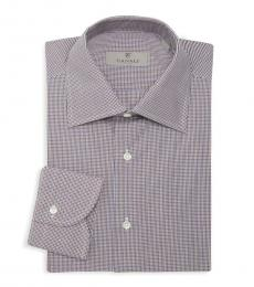 Canali Multicolor Mini Check Print Dress Shirt