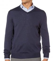 Canali Dark Blue V-Neck Wool Sweater