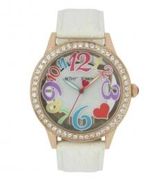 Betsey Johnson White See Through Dial Watch