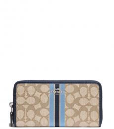 Coach Light Khaki Blue Zip Around Wallet