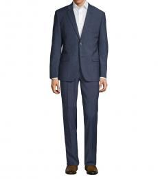 Navy Blue Slim-Fit Textured Wool Suit