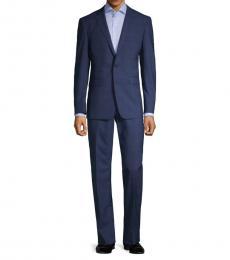 Navy Blue Slim-Fit Windowpane Suit