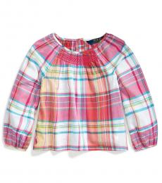 Ralph Lauren Little Girls Pink Smocked Madras Top