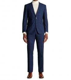 Navy Blue Plaid Slim Fit Suit