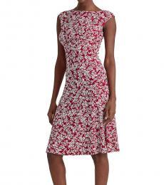 Ralph Lauren Red Floral Matte-Jersey Dress
