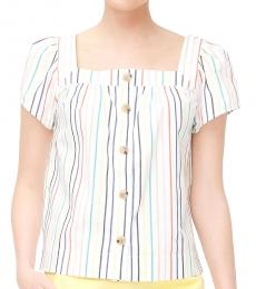 Multi Color Striped Button-Front Top