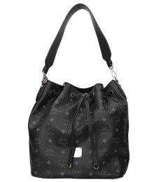 MCM Black Print Medium Bucket Bag