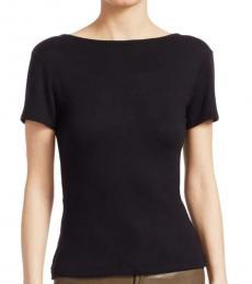 Rag And Bone Black Surplice Open-Back T-Shirt
