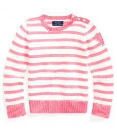 Ralph Lauren Little Girls Pink Heart-Pocket Cotton Sweater