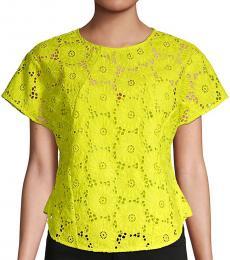 Diane Von Furstenberg Yellow Nellie Floral Lace Top