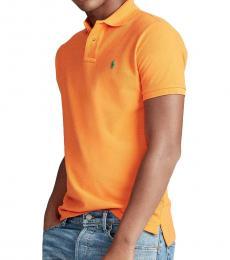 Ralph Lauren Bright Signal Orange Classic Fit Mesh Polo