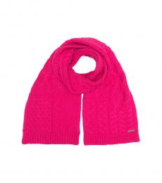 Michael Kors Electric Pink Patchwork Cable Scarf