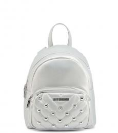 Love Moschino Silver Quilted Stud Heart Small Backpack