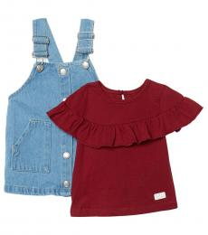 7 For All Mankind 2 Piece Top/Overalls Set (Baby Girls)