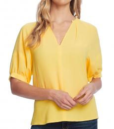 Soft Canary Split Neck Elbow Sleeve Top
