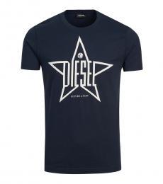 Diesel Navy Blue Graphic Logo T-Shirt