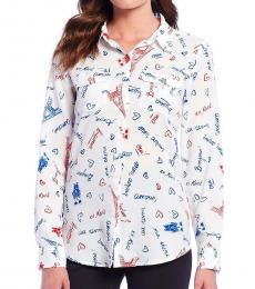 Karl Lagerfeld White Whimsical-Print Shirt