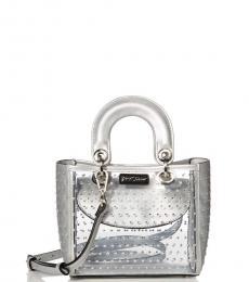 Betsey Johnson Silver Sparkle Stud Mini Satchel