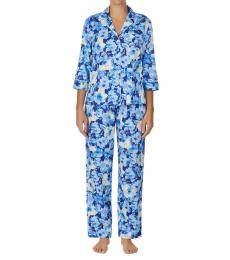 Ralph Lauren Blue Floral Floral Print Pajama Set