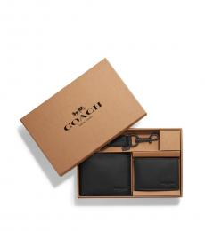 Coach Black Compact Id Wallet With Key Fob