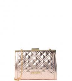 Love Moschino Rose Gold Quilted Clutch