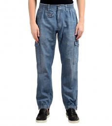 Blue Denim Cargo Casual Pants