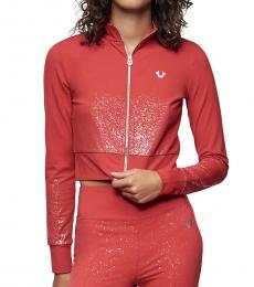 True Religion Ruby Red Shimmer Crop Jacket