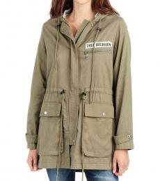 True Religion Military Green Light Parka Jacket
