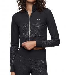 True Religion Black Shimmer Crop Jacket