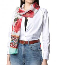 Dolce & Gabbana Red-White Floral Print Scarf