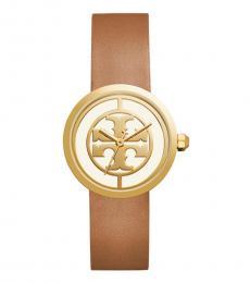 Tory Burch Luggage Gold Reva Chronograph Watch