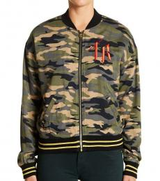 True Religion Multicolor Camo Bomber Jacket