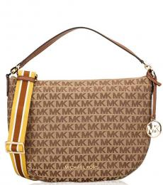 Michael Kors Beige/Ebony Bedford Medium Medium Hobo