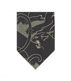 Valentino Garavani Black-Green Beige Panther Print Tie