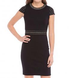 Michael Kors Black Grommet Cap Sleeve Party Dress