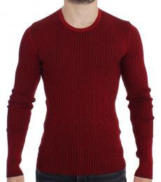 Dolce & Gabbana Red Crewneck Ribbed Sweater