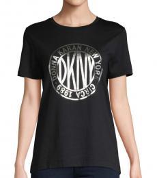 DKNY Black Graphic Cotton Tee