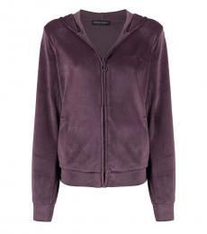 Emporio Armani Violet-Purple Zip-Up Velour Jacket