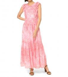 Michael Kors Geranium Ruffle Georgette Tiered Dress
