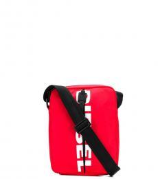 Diesel Red F-Bold Medium Crossbody Bag