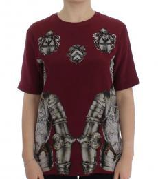 Dolce & Gabbana Maroon Knight Print Top