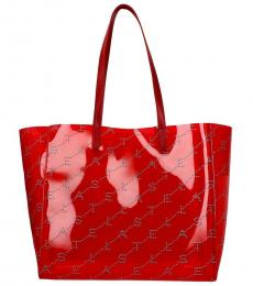 Stella McCartney Red Shopping Large Tote