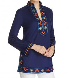 Navy Blue  Embroidered Beaded Tunic Top
