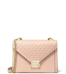 Michael Kors Soft Pink Whitney Debossed Medium Shoulder Bag