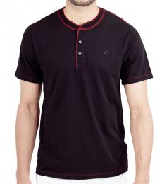 True Religion Black Embroidered Logo Henley Polo