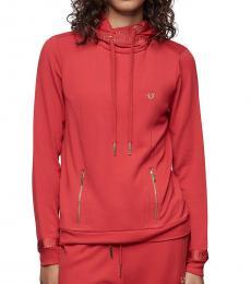 True Religion Ruby Red Logo Trim Hoodie